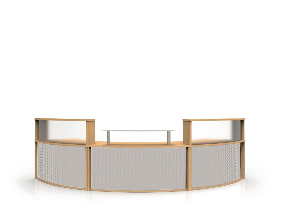 Modular Reception Counter|Single Glass Shelf|Full Modesty Panel|Triple Section|Choice of Finish